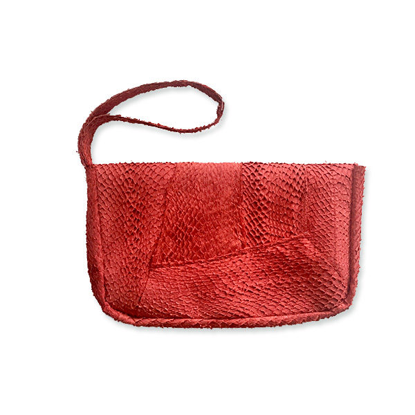 Salmon leather wrist bag